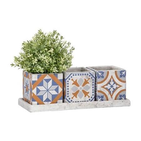 Set 3 vasi quadrati con sottovaso fantasia portoghese